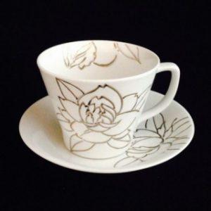 牡丹彫り コーヒー碗セット
